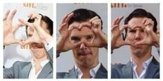 I love how he is trying to make a heart out of his hands and when he does, he looks displeased with himself.