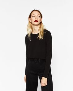 CROPPED SWEATER WITH BLONDE-LACE HEM-View all-T-SHIRTS-WOMAN | ZARA United States