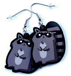Cute Raccoon Acrylic Charm Earrings. $8.00, via Etsy.