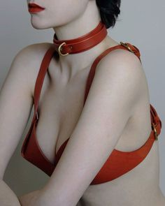 Fleet Ilya | The Wing Collar & Cross Back Bra in red leather