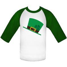 Personalized Irish St Patrick's Day Shamrock Hat White and Kelly Green Baseball Jersey. $24.99