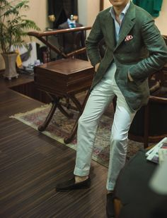 Green Linen Jacket & White Cotton Trousers At the B&TAILOR