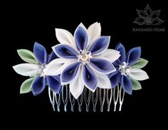 White n Purple Kanzashi Comb by Kanzashi-Hime.deviantart.com on @DeviantArt