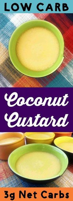 This sweet and creamy low carb coconut egg custard makes the perfect comfort food dessert. It's Keto, Atkins, Gluten Free