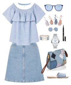 """""""Untitled #2039"""" by ebramos ❤ liked on Polyvore featuring M.i.h Jeans, Ancient Greek Sandals, MANGO, Hermès, L'Oréal Paris, Jules Smith, Skagen, Ray-Ban, Movado and Marc Jacobs"""