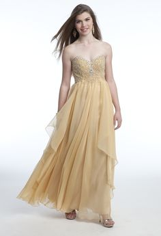 Strapless Long Dress with Beaded Empire from Camille La Vie and Group USA