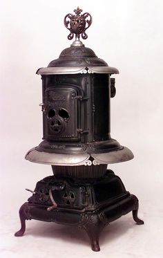 American Victorian round wrought iron pot belly stove