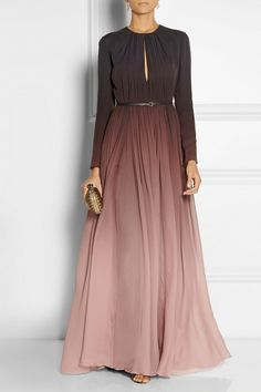Dégradé silk-georgette gown by Elie Saab Black, dark-purple and grape dégradé silk-georgette Hook and zip fastening at back silk Dry clean Muslim Fashion, Modest Fashion, Hijab Fashion, Fashion Dresses, Maxi Dresses, Boho Fashion, Fashion Beauty, Bridesmaid Dresses, Fashion Tips