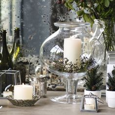 Glass Footed Vase | The White Company. Shopping from the US? -> http://us.thewhitecompany.com/Home-%26-Bath/Decorative-Accessories/Gray-Metal-Crooks---Set-of-2/p/GAHGC?swatch=Gray