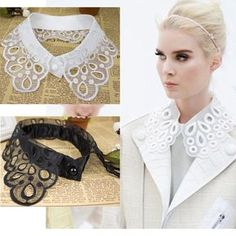 Apparel Accessories Original Womens Detachable Embroidery Hollow Lace Fake Collar Sequin Bead Shirt Sweater Necktie Women Men Clothes Accessories W15