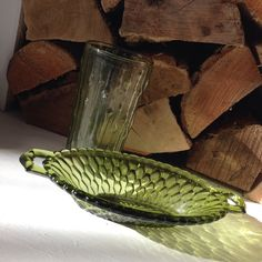 Green glassware, $1.50, Center Harbor Catholic Church (glass) and Lakes Region Food Pantry (dish), Moultonborough, NH