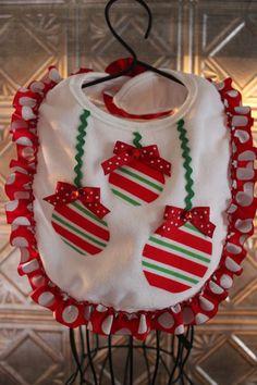 Christmas bib with decorative bulbs on Etsy, $8.00