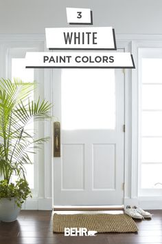 Classic and timeless, there's nothing like a neutral wall color. Get inspired to add this look to the walls of your home with this collection of white Behr paint colors. Click below to explore popular shades like White Modern, Painter's White, and Cottage Behr Paint Colors, White Paint Colors, White Paints, White Rooms, White Walls, Neutral Wall Colors, Neutral Paint, Kitchen Wall Colors, House