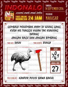 Angka Togel Wap Online Live Draw 4D Indonalo Makassar 14 September 2016