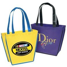 Our Reusable Designer Bags are non-woven and eco-friendly, and fully-customizable to advertise your brand for years as your customers reuse them for years! Non Woven Bags, Shopping Totes, Eco Friendly Bags, Reusable Grocery Bags, Black Accents, Cotton Bag, Bag Making, Dior, Carnival