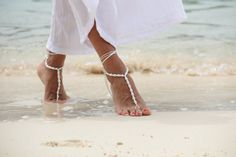 I LIKE WITH TIE BACK! Beadwork with white pearl and satin cord anklet beach by Fundem, $24.00