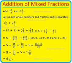 Addition of Mixed Fractions Mixed Fractions Worksheets, Learning Fractions, Improper Fractions, Teaching Math, Addition Worksheets, Word Problems 3rd Grade, 3rd Grade Words, Fraction Word Problems, Addition Of Fractions