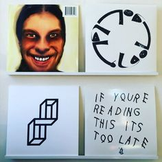 Aphex Twin, I care because You Do, self-portrait by Richard D. James, AFCGT, no design credit given, Pisetzky, Elevation EP,  no design credit given, Drake, If You're Reading this its too Late, no design credit given