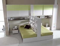 Idea to save space but do it with side rails on the beds