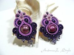 Hand embroided soutache earrings in purple and by AndreaZstyle, $57.00