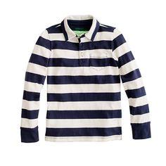 Boys' long-sleeve jersey polo in stripe