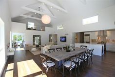 The kitchen has to be at the epicenter of a great room.  High ceilings don't hurt either.