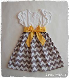 Gray yellow chevron dress**Toddler girls chevron dress***Grey chevron dress**Short or long sleeves**Size 12 months., 18 mos., 2t, 3t, 4t, 5t