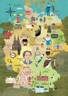 Carte illustrée de l'Allemagne | Travel map Germany |Martin Haake | Illustrators…