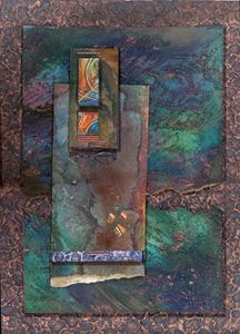 Copper texture collage by Jaqueline Sullivan. Love the interplay between the colors and textures!