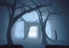 The chapel in the Icehotel in Sweden is a wonder of wonders! The designs etched in the walls are so fine that one will take it for stained glass. It is said that more than 150 couples pledge eternal fidelity at this chapel.