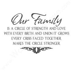Our family is a circle of strength and love with every birth and union it grows family quote