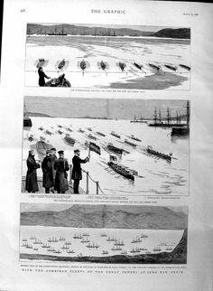 Antique Print 1886 Suda Bay Crete Ships Regatta Lord Galley Boat Race
