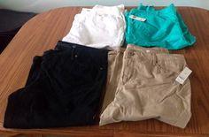 19.34$  Buy here - http://vixar.justgood.pw/vig/item.php?t=lmzbu120531 - Lot Of 4 Faded Glory Capri Pants Shorts Black Khaki Tan White Teal