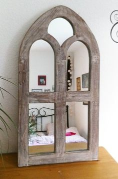 Spiegel Wandspiegel Fenster Oriental Gothic massiv Holz antik rustikal Vintage: Amazon.de: Küche & Haushalt Natural Living, Bookends, Sims, Oriental, Gothic, Mirrors, Furniture, Home Decor, Vintage