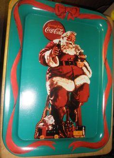 Coca Cola Tray Santa with Bunny 1990 Greetings from Coca Cola - Estate