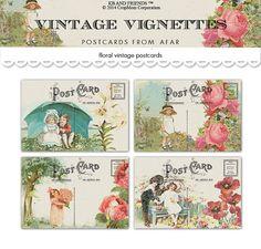 Digital vintage vignettes floral postcards /  by KBandFriends