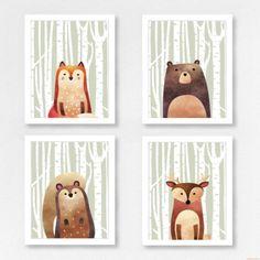 Woodland Animal Set 4 Prints - Half Animal - (Fox/Bear/Squirrel/Deer) by LittleHomeTreats on Etsy https://www.etsy.com/listing/510662185/woodland-animal-set-4-prints-half-animal