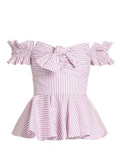 Caroline Constas Artemis off-the-shoulder cotton top Girly Outfits, Cute Outfits, Fashion Outfits, Striped Off Shoulder Top, Shoulder Tops, Shoulder Shirts, White Peplum Tops, White Short Sleeve Shirt, Flare Top