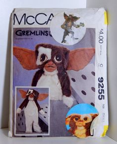 Vintage Gremlins Gizmo Costume Pattern 1984 Factory Folded Uncut McCall's 9255 Warner Bros. Halloween Don't Feed After Midnight 80's Movie by OffbeatAvenue on Etsy