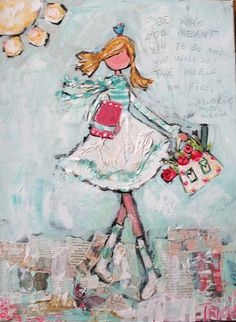 """""""Carrying a Dream"""" mixed media painting  www.triciarobinson.com"""