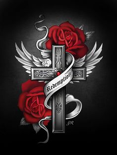 Gothic Rose Gothic Fantasy Art, Fantasy Art Women, Pretty Cross Tattoo, Angel Wings Drawing, Cross Coloring Page, Tribal Rose, Cross Wallpaper, Gothic Images, Angel Artwork