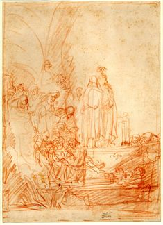 The Entombment of Christ (combined with the Raising of Lazarus); (a) Lazarus is seen at r in several positions, raising his head, Christ standing above the tomb, to l a crowd of spectators (b) Over the preceding sketch another group in which the body of Christ is lowered towards the tomb. 1635 Red chalk