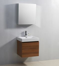 Bathroom. floating brown wooden vanity  with white sink placed on the gray wall. Give Awesome Design For Your House With Charming Small Bathroom Vanity