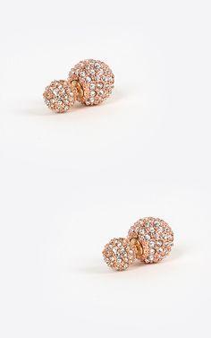 Rhinestone double sided earrings. | MakeMeChic.com