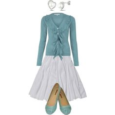 Simply Sea -- soft aqua sweater and flats, paired with a flowing white skirt and silver and pearl earrings.