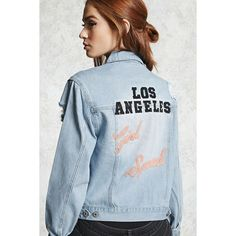 Forever21 Los Angeles Girl Squad Jacket ($35) ❤ liked on Polyvore featuring outerwear, jackets, light denim, collar jacket, blue jackets, forever 21 jackets, distressed denim jacket and forever 21