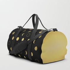 Gold Moon Phases Duffle Bag by laurafrere Moon Phases, Graphic, Print Design, Gold, Stuff To Buy, Bags, Patterns, Handbags, Block Prints