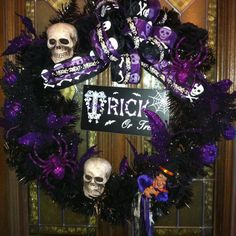 Purple and black Halloween wreath!