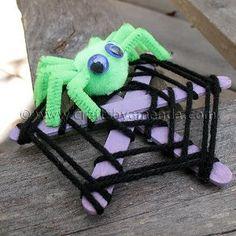 Spooky Spun Spider Web   AllFreeKidsCrafts.com
