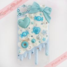 Blue Whipped Cream & Frosting iPhone 4/4S Decoden Case | $30.00 SHOP: www.etsy.com/shop/kawaiixcoutureHandmade decoden phone cases, jewelry, & accessories ♡